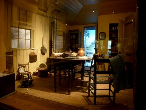 "The so-called ""Dikeman Kitchen"" from the early mining town Rough and Ready displayed in  OMCA's Gallery of California History. Photo by Rue Flaherty."
